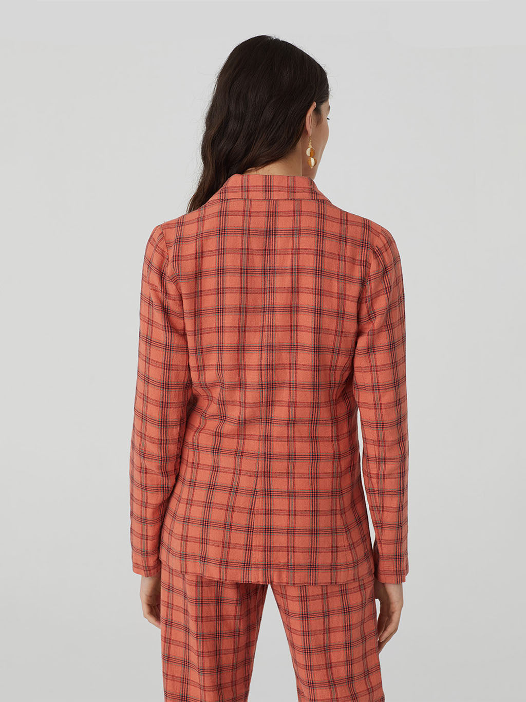 Nice Things Linen Blend Checked Blazer