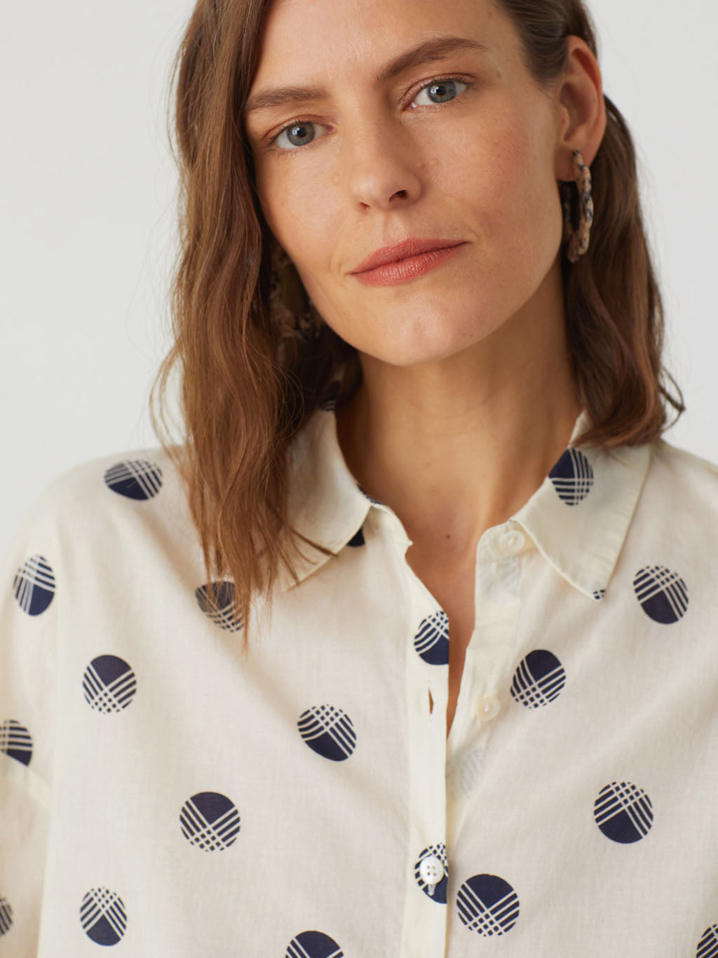 Nice Things Hatched Dot Shirt - 100% Cotton