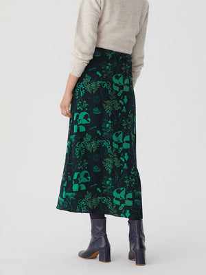 Nice Things Midi Satin Skirt Willow Green