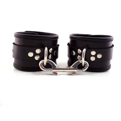 Black Leather Ankle Cuffs With Piping - The Lust Lab