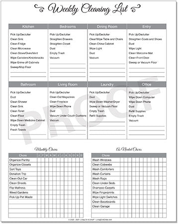 Living On A Dime To Grow Rich - Tawra's Get It Together Planner Cleaning Checklist