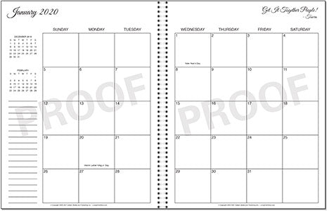 Living On A Dime To Grow Rich - Get It Together Planner 2 Page Monthly Calendar