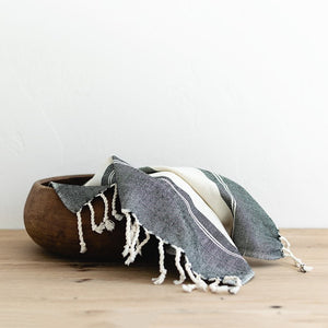 FAIR TRADE |  Oversized Woven Hand Towel in Black and Cream Stripes
