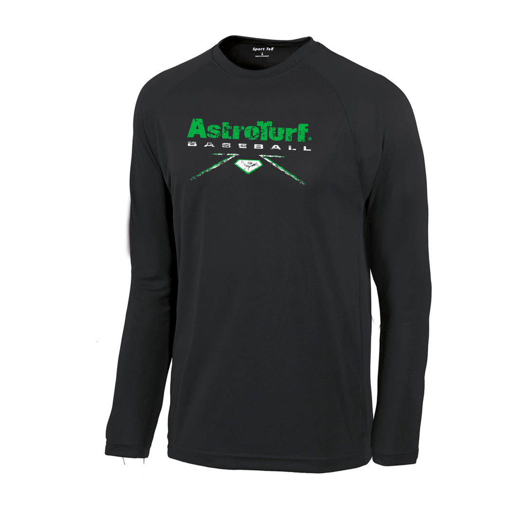 Black Long Sleeve AstroTurf Baseball T-shirt