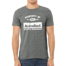 Load image into Gallery viewer, Property of AstroTurf Distressed T-shirt - Deep Heather