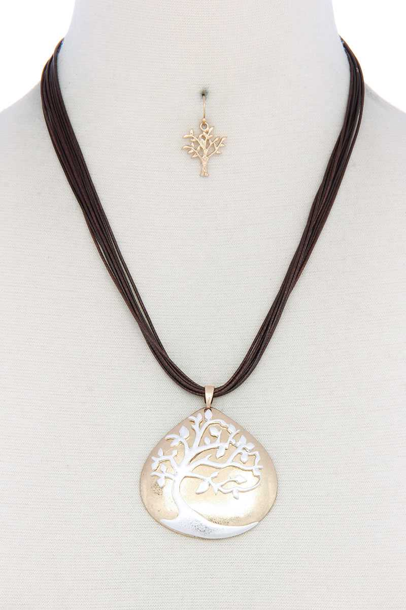 Oak Tree Pendant Pu Leather Necklace
