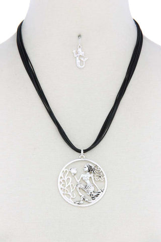 Mermaid Pendant Pu Leather Necklace