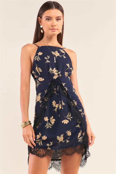 Navy Multi Floral Halter Neck Sleeveless Front Self-tie Lace Trim Slip Mini Dress
