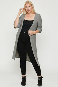 Plus Size Two Tone Knit Cardigan