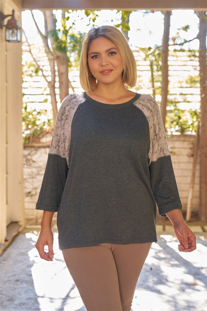 Plus Grey & Light-taupe Snake Print Contrast Round Neck Midi Sleeve Side Slip Relaxed Fit Top - Keep It Tees Shop