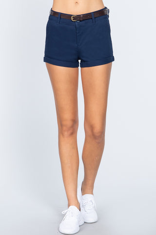 Twill Belted Short Pants - Keep It Tees Shop