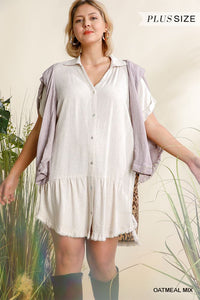 Linen Blend Animal Print Short Folded Sleeve Button Down Dress With Frayed Scoop Hem - Keep It Tees Shop