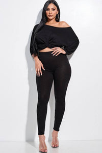 Solid Rib Knit Knotted Front Top And Leggings Two Piece Set - Keep It Tees Shop