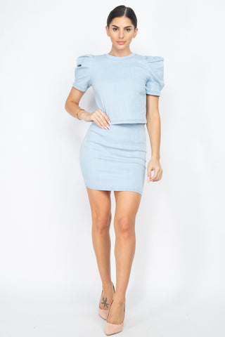 Puff Sleeves Round Neck Top And High Waist Skirt - Keep It Tees Shop