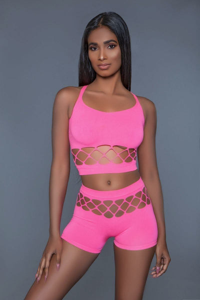 2 pc silk fishnet set that includes a tank crop top with criss-cross cami straps and a pair of high waisted booty shorts