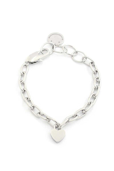 Sodajo Heart Charm Oval Link Bracelet - Keep It Tees Shop