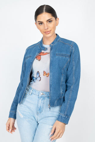 Long Sleeves Funnel Neck Denim Jackets - Keep It Tees Shop