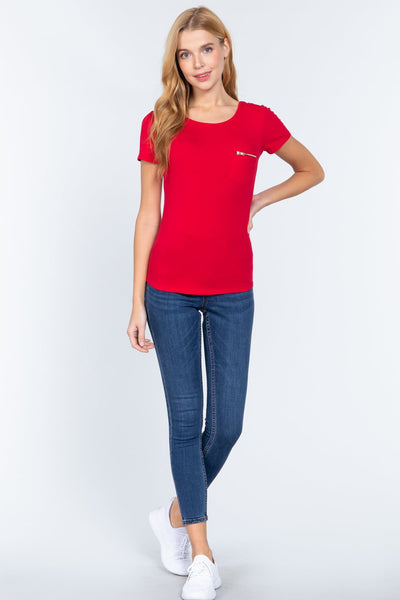 Short Slv Top W/zipper Pocket - Keep It Tees Shop