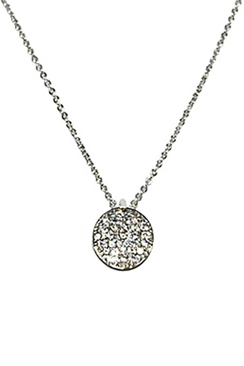 Metal Chain Rhinestone Round Pendant Necklace - Keep It Tees Shop