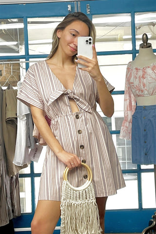 So 90s! Striped Self-tie Front Detail Short Sleeve Button Down Mini Shirt Dress