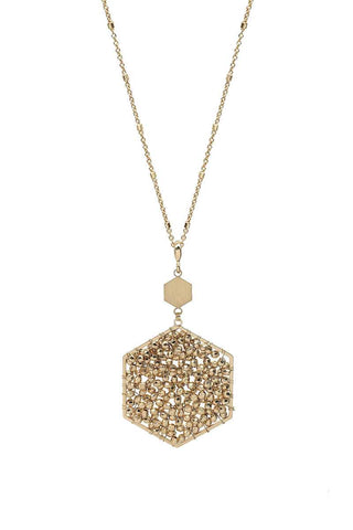 Fashion Glass Bead Hexagon Pendant Long Necklace
