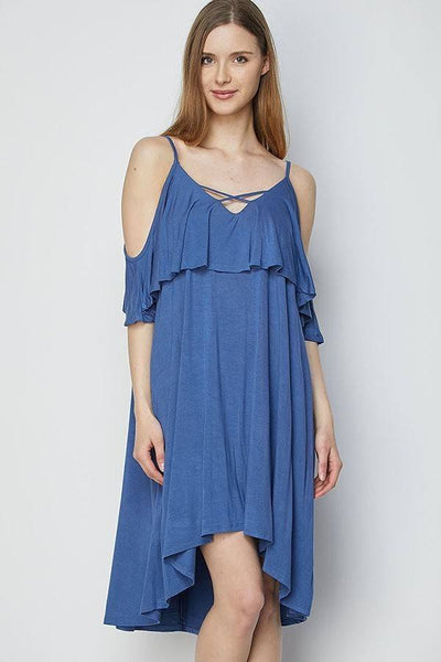 Solid Strappy Detail Cold Shoulder Ruffle Dress
