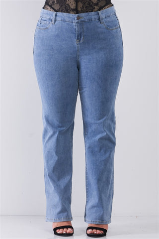 Plus Mid-wash Blue Denim Low-rise Wide-leg Upsized Basic Dad Jeans