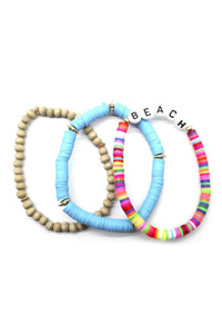 Fashion Wood Rubber Disc Bead Beach Letter Stretch Multi Bracelet