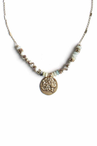 Stone Glass Bead Coin Pendant Necklace