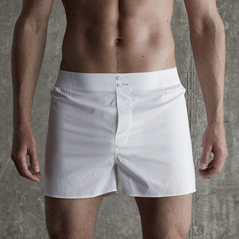 White cotton boxer short by Hamilton and Hare