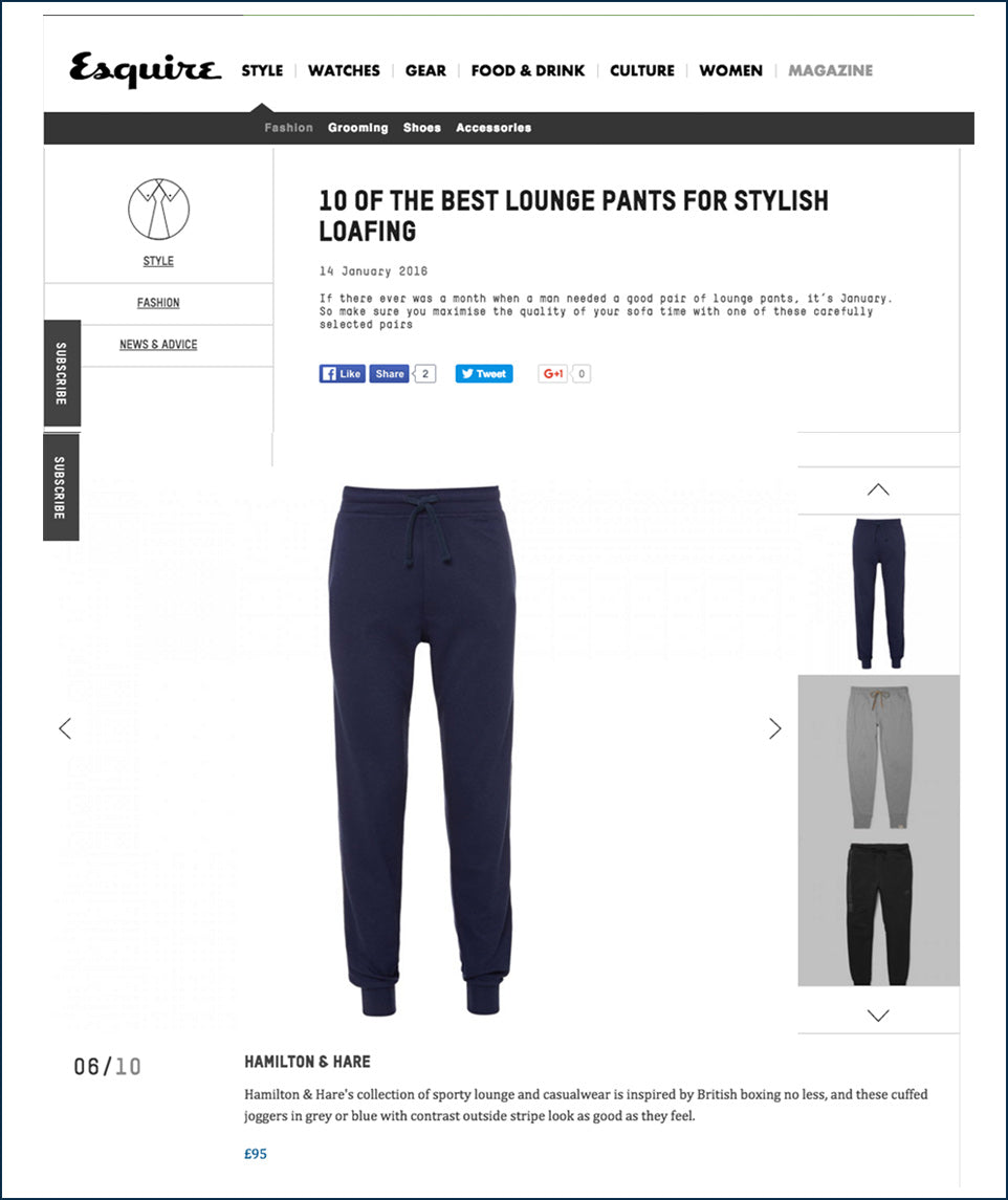 Esquire Magazine - Hamilton and Hare - 10 of the best lounge pants for stylish loafing