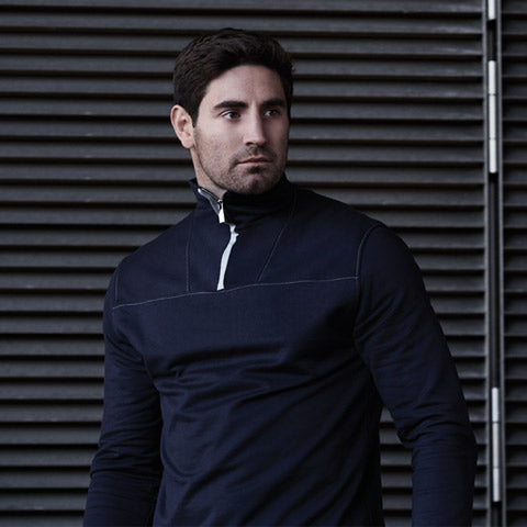 Navy Sweat Zip Top by Hamilton and Hare. Luxury underwear, loungewear and athleticwear brand
