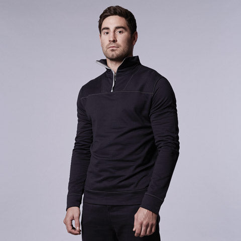 Navy Sweat Zip Top by Hamilton and Hare.