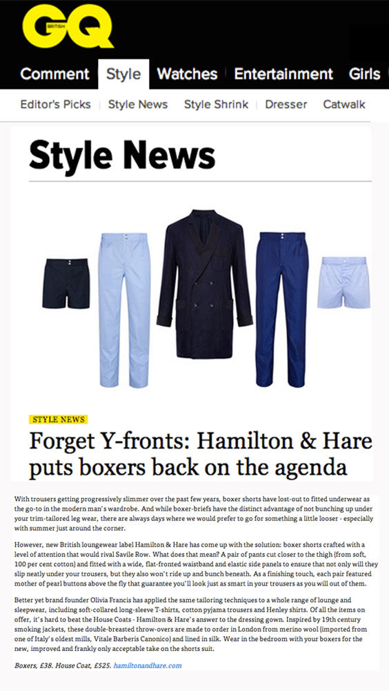 GQ Magazine Style news featuring Hamilton and Hare