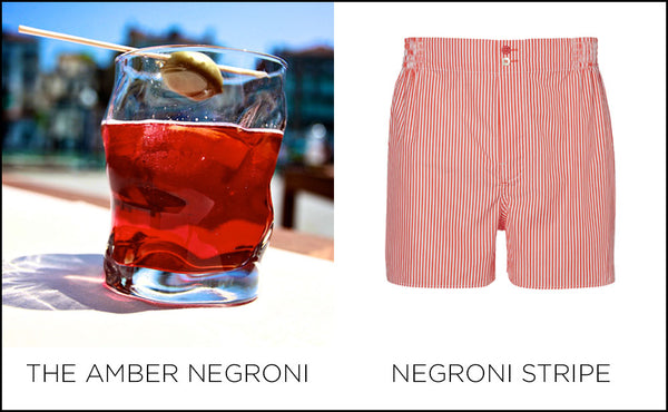 Amber Negroni, Negroni stripe boxer by Hamilton and Hare.