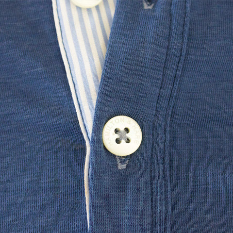 Hamilton and Hare's loungewear collection. Henley Tee featuring mother of pearl buttons