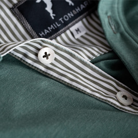 Hamilton and Hare's Mallard green long sleeve polo. Featuring a contrast collar.