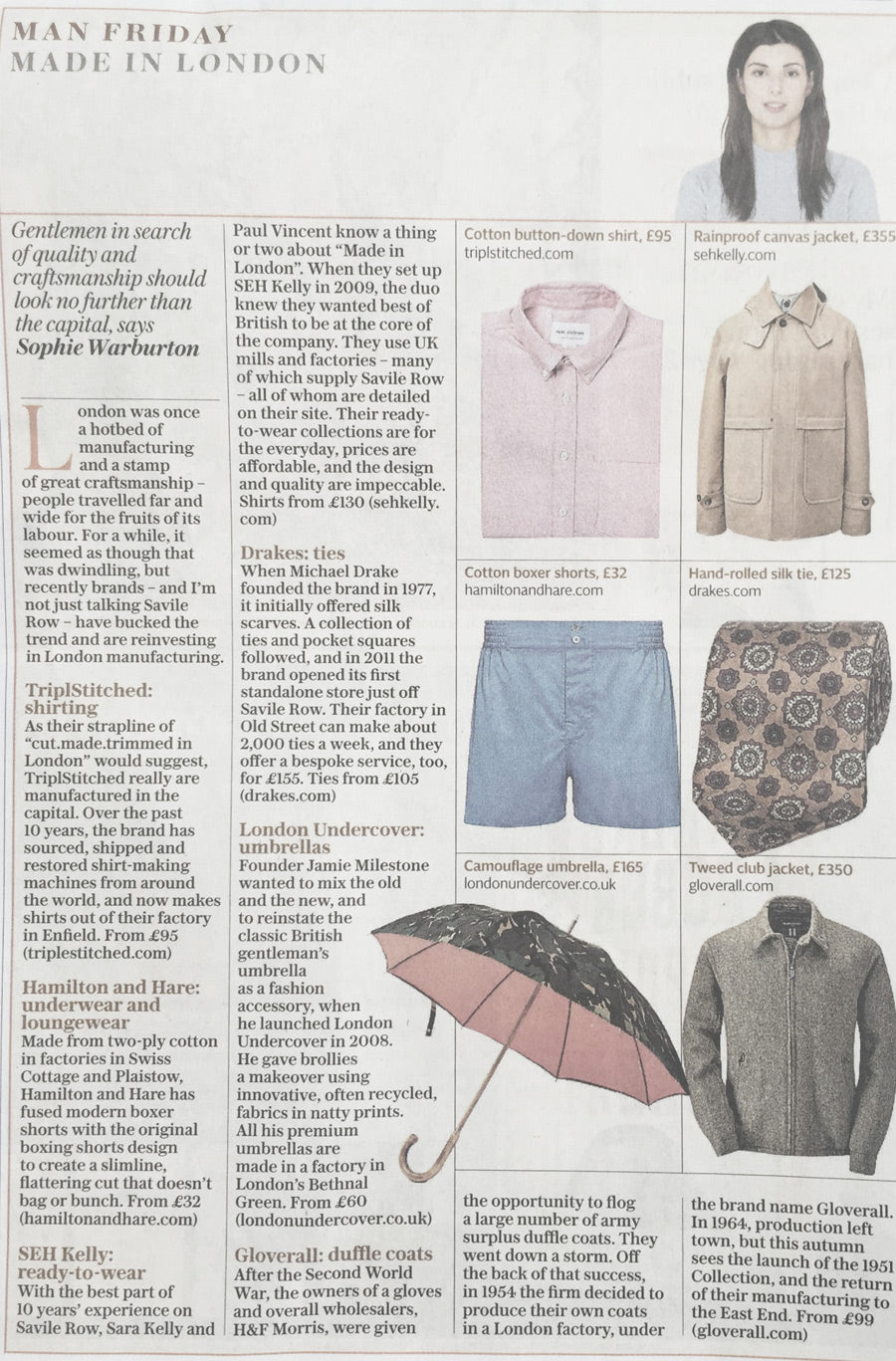 Daily Telegraph feature Hamilton and Hare - Made in London