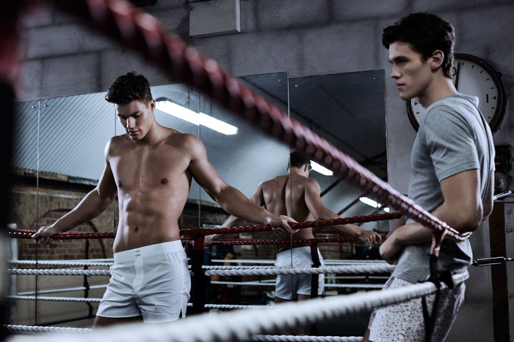Classic White British Boxer Shorts by Hamilton and Hare - Luxury men's underwear and loungewear