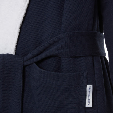 Navy towelling robe. Hamilton and Hare's modern take on a dressing gown