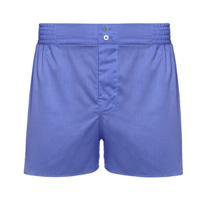 Riviera Blue tailored boxer shorts by Hamilton and Hare.
