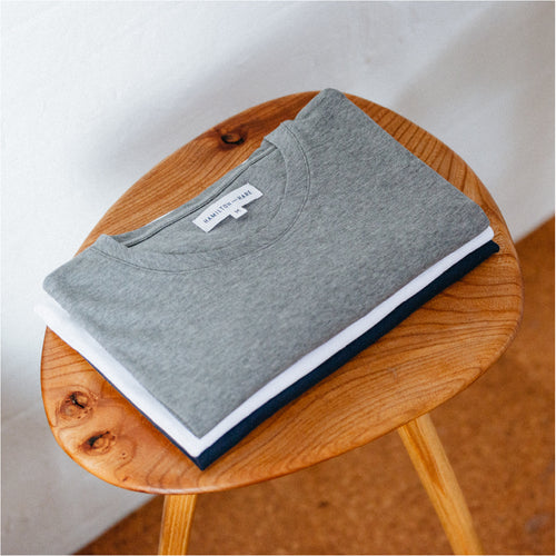 3 Mix Pack Relax Tee - Navy, White, Grey - Hamilton and Hare Ltd