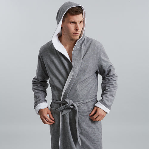 Grey Towelling Robe by Hamilton and Hare - Luxury men's underwear and loungewear