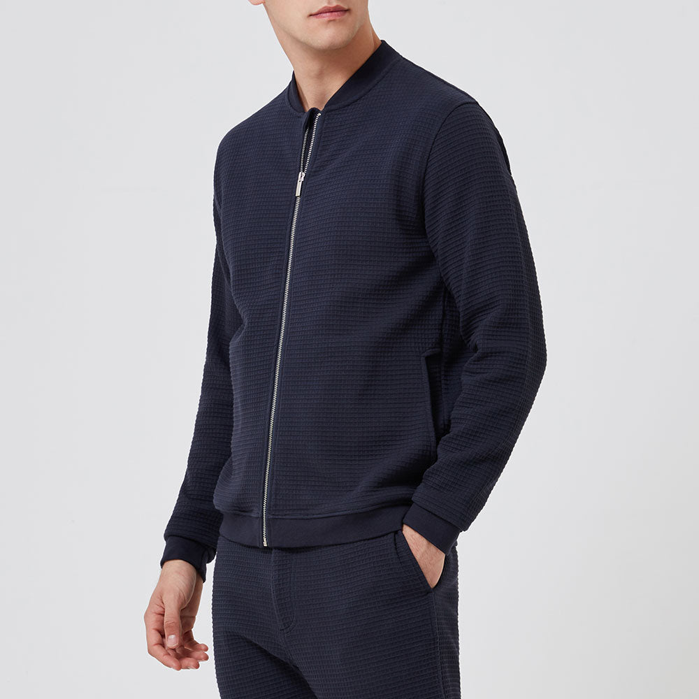 Bomber Jacket - Navy Waffle - Hamilton and Hare Ltd