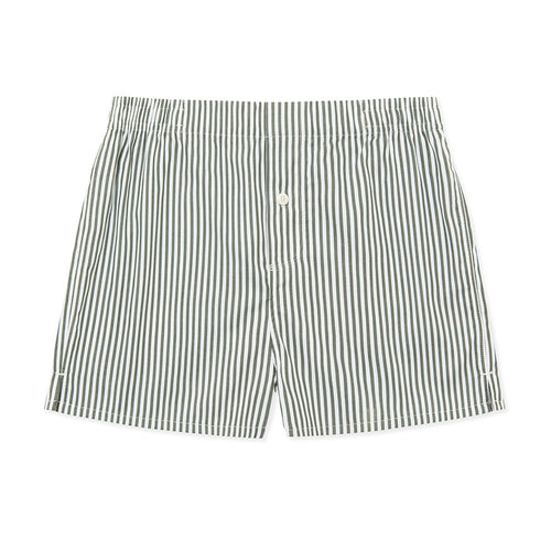 Boxer Short - Olive Stripe - Hamilton and Hare Ltd
