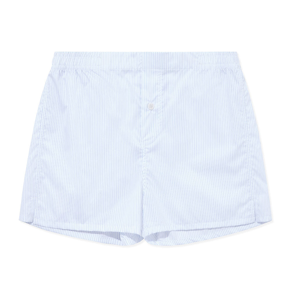Boxer Short - White Blue Stripe - Hamilton and Hare Ltd