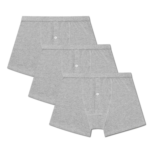 3 Pack Boxer Brief - Grey Melange - Hamilton and Hare Ltd