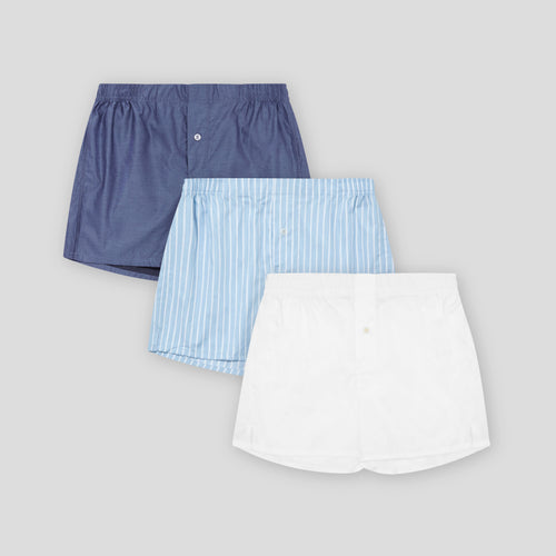 3 Pack Boxer Short Mix - Blue Chip, Blue Stripe, Classic White