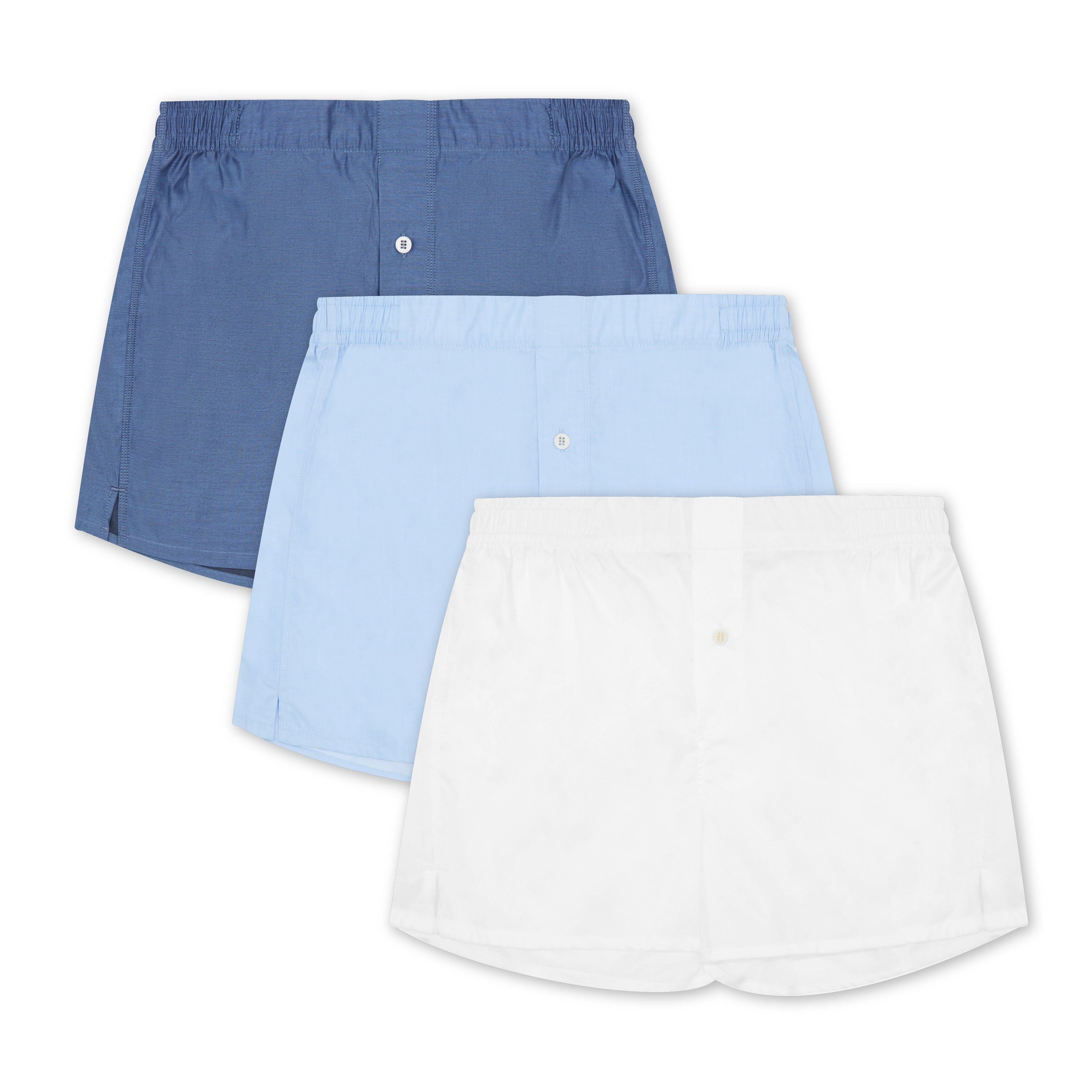 3 Pack Boxer Short Mix - Sky Blue, Classic White, Navy - Hamilton and Hare Ltd