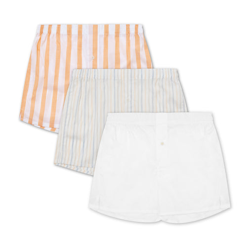 3 Pack Boxer Short Mix - Yellow Stripes - Hamilton and Hare Ltd